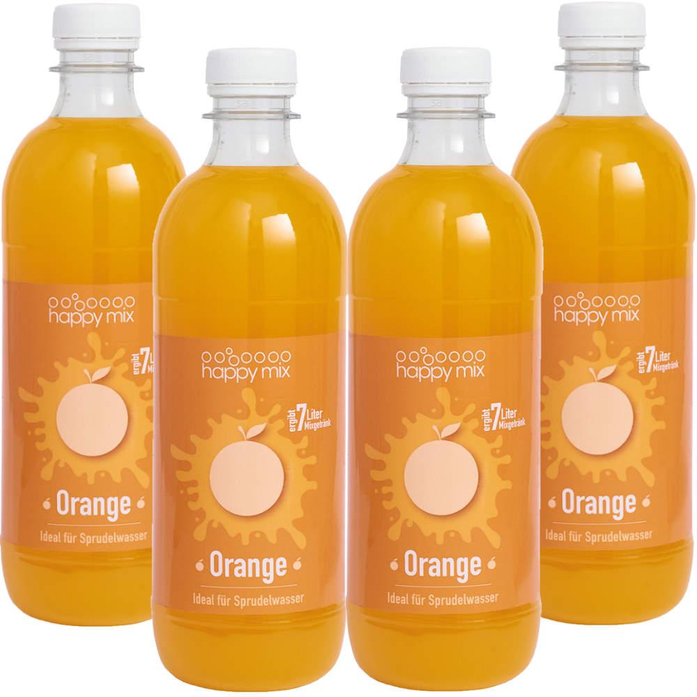 4 für 3 Aktion Sirup für Wassersprudler Geschmack Orange (4 x 500ml = 2L Sirup)
