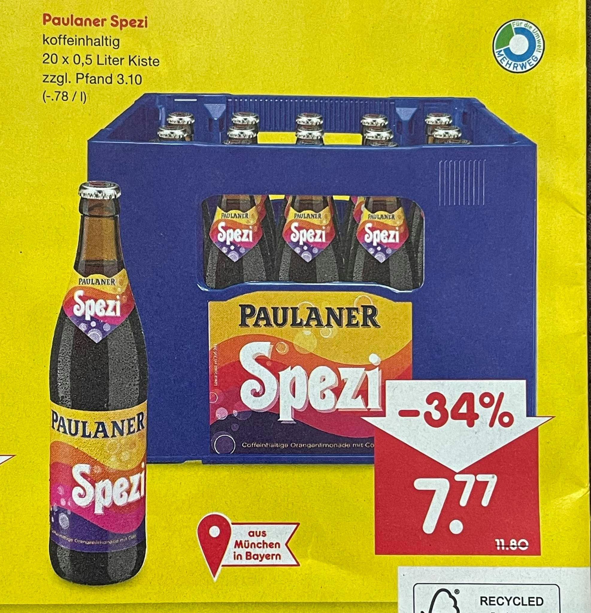 Paulaner Spezi - 20 x 0,5l für 7,77 € (+ 3,10€ Pfand) [Netto - lokaler Samstagskracher]