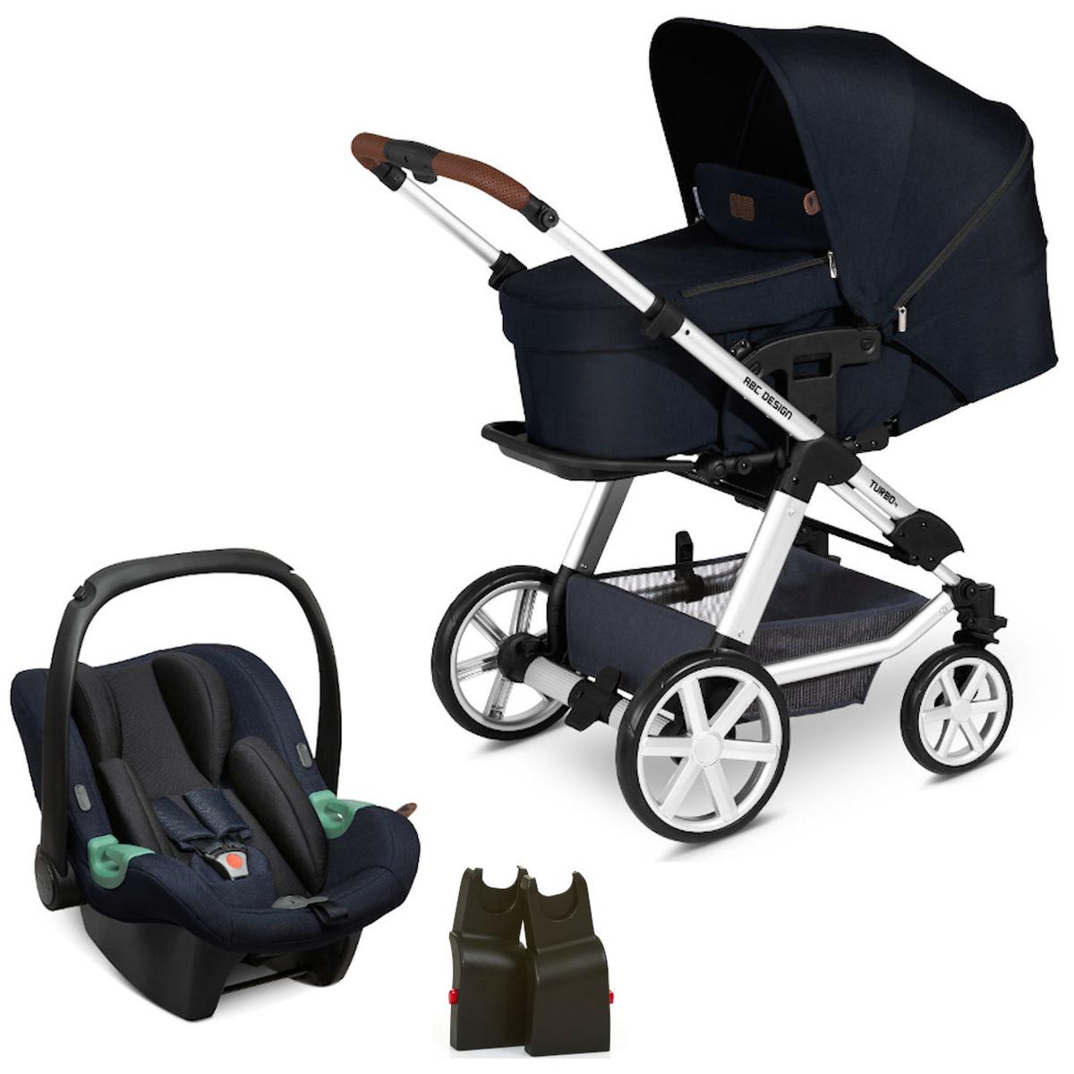 ABC Design Turbo 4 - Set 3.tlg,- Kinderwagen shadow inkl. Babyschale Tulip & Adapter [Babyprofi]