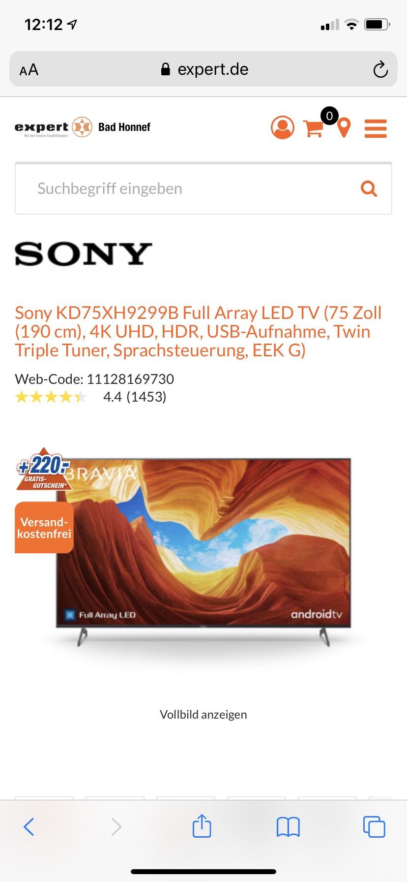 Sony XH92 - baugleich XH90 - 75 Zoll -Mit 220 Euro Gutschein neuer Bestpreis!