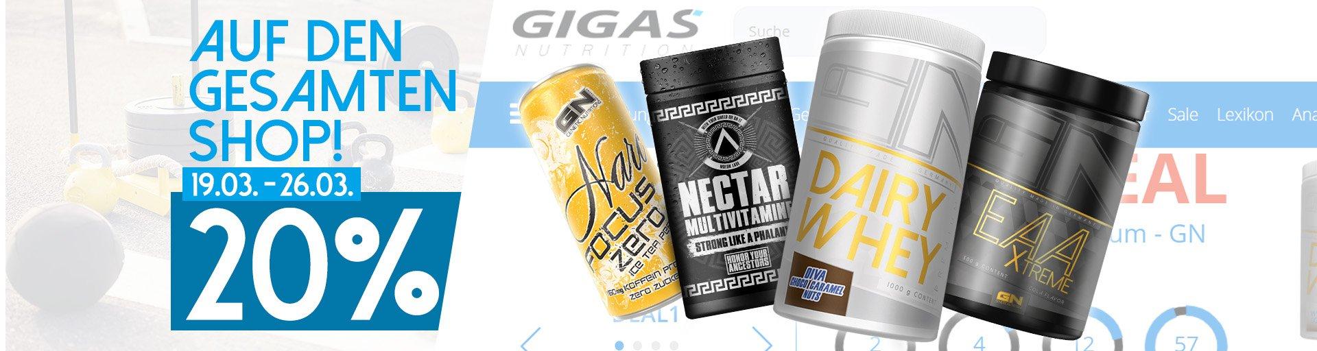 Gigas Nutrition 20% Rabatt auf den gesamten Shop (19.03. - 26.03./ +10% Extra-Rabatt)