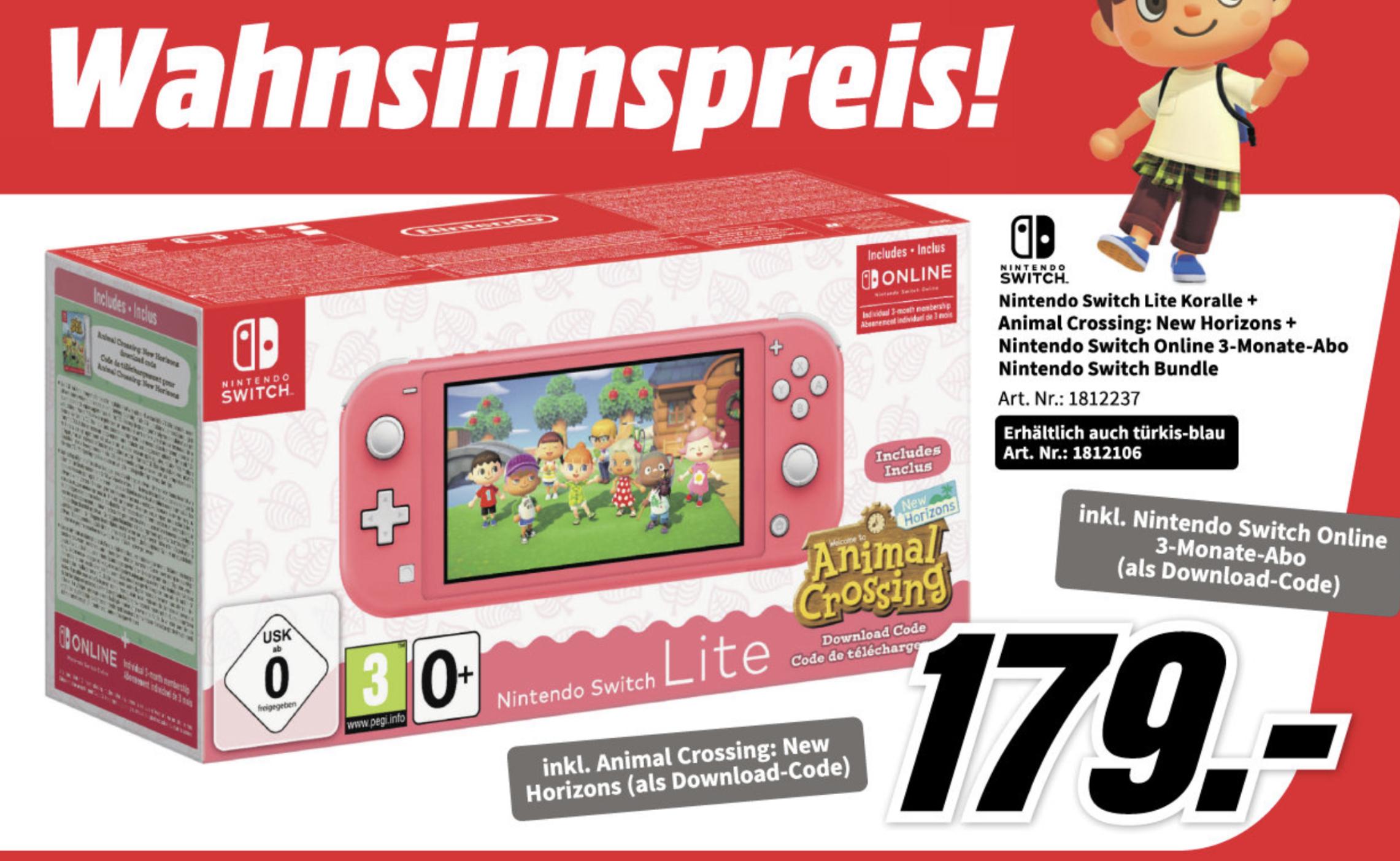 NINTENDO Switch Lite inkl. Animal Crossing und 3 Monate Switch Online Mitgliedschaft Türkis o. Koralle 171,99€ + 10€ Versandkosten D-A-Packs