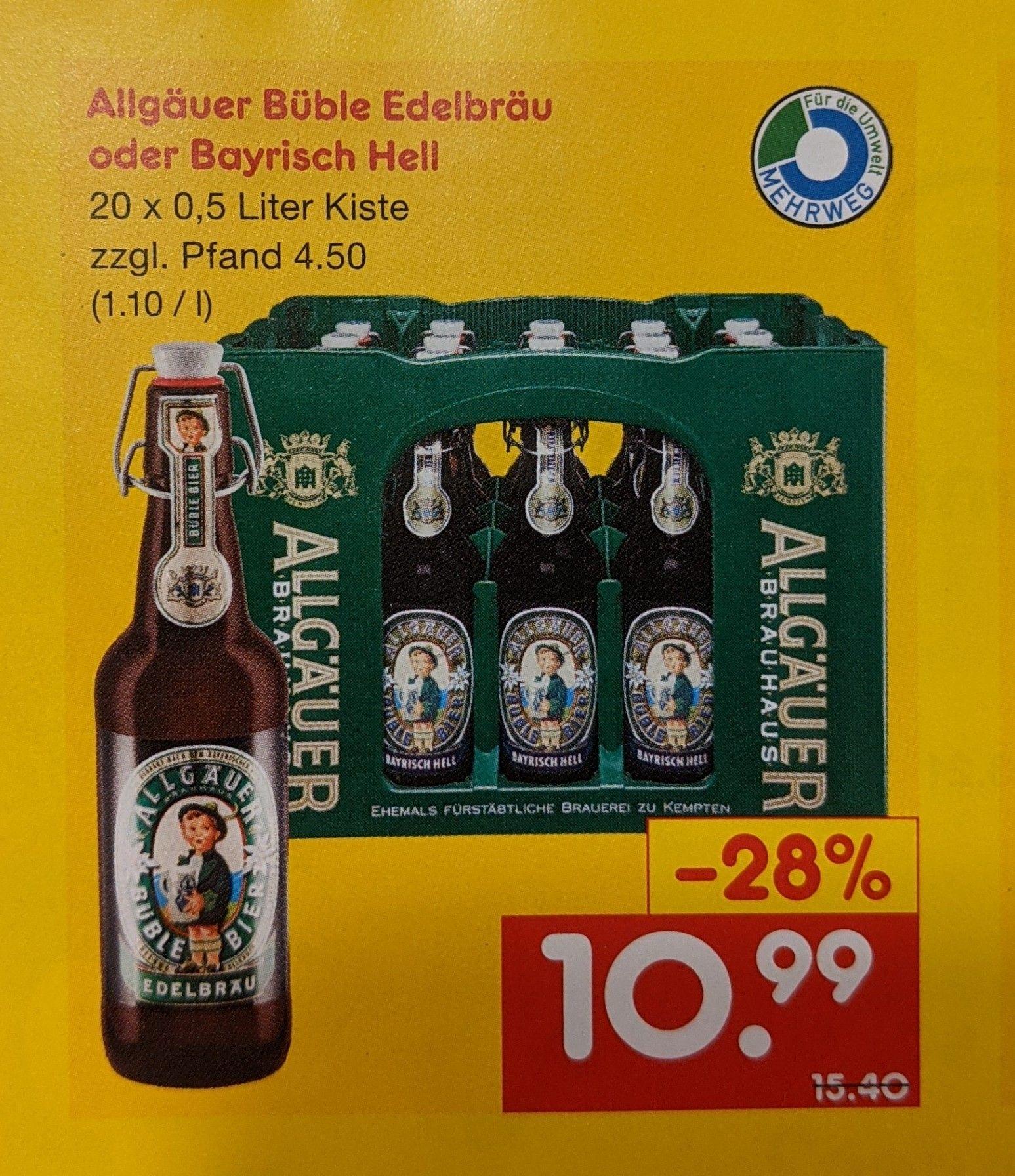 [Netto Getränke-Discount Lokal Berlin Treseburger Straße] Allgäuer Büble Edelbräu oder Bayrisch Hell 20 x 0,5l Bier