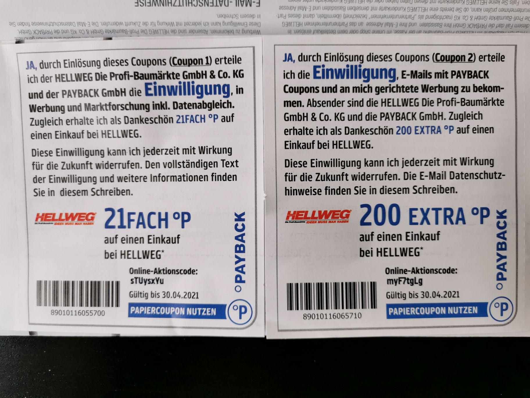 21fach + 200 extra Payback-Punkte bei Hellweg