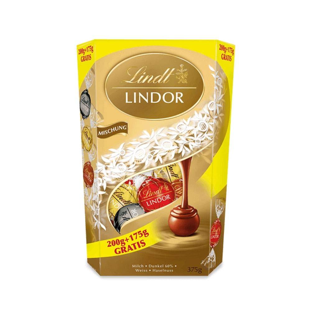 [Prime] 5 x Lindt Lindor Schokoladenkugeln, Mischung (Milch, Dunkel, Weiss, Haselnuss), 5 x 375g = 1,875kg (12,78€ pro Kilo)