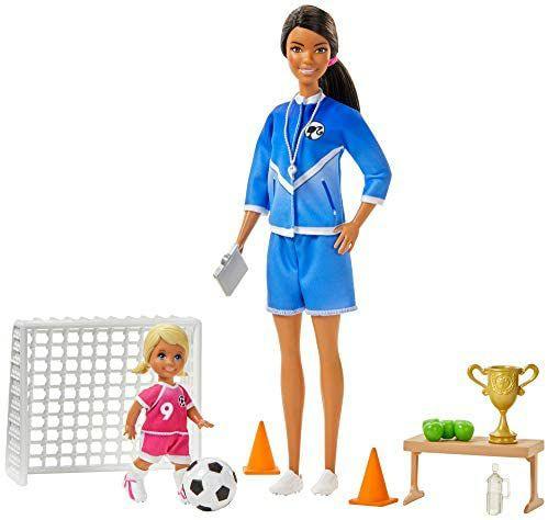 [Amazon Prime] Barbie GJM71 - Fußballtrainerin Spielset mit Puppe (brünett) und Zubehör, Spielzeug ab 3 Jahren