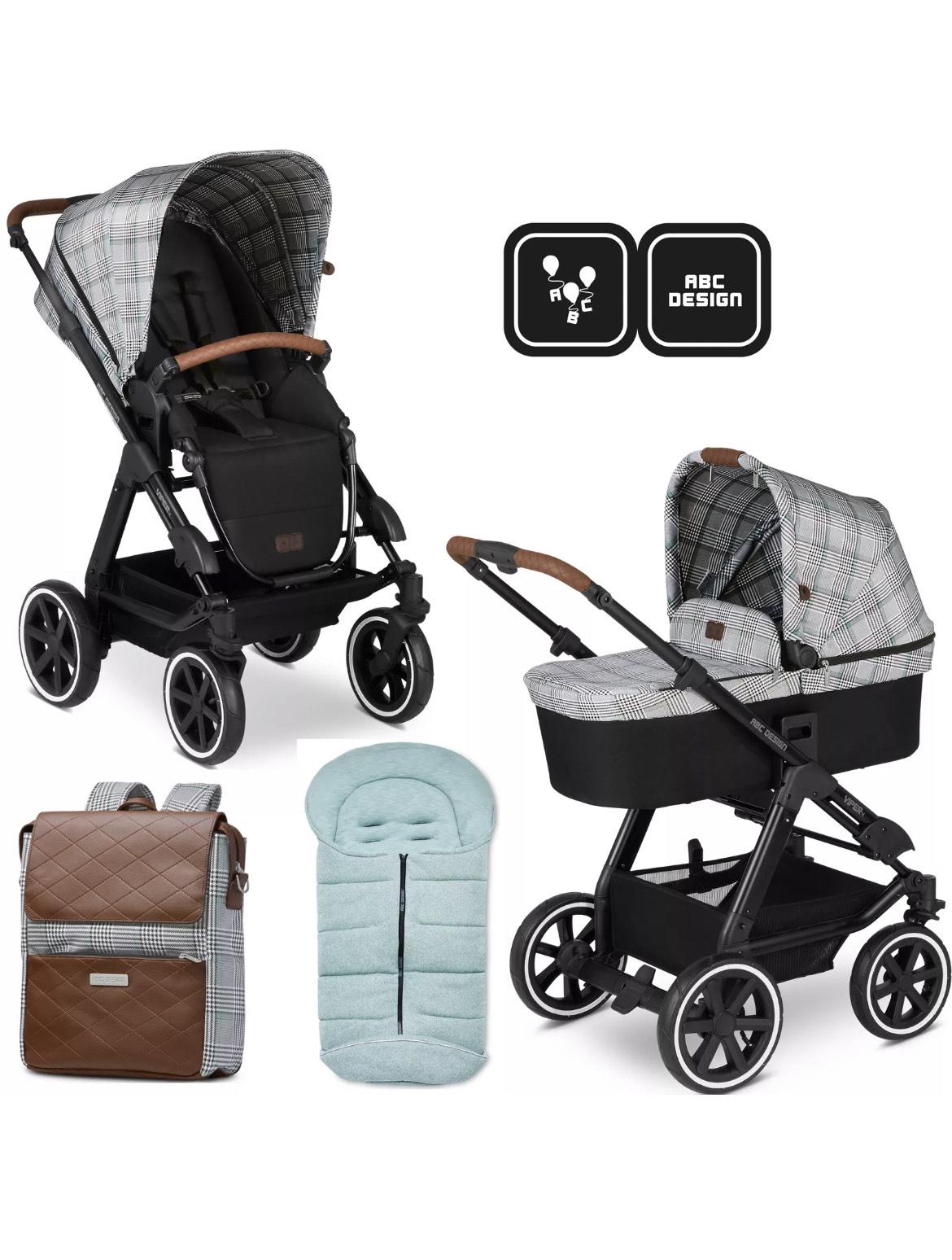 ABC Design Viper 4 Fashion Edition Smaragd Kombi-Kinderwagen Set mit Wickelrucksack und Fußsack