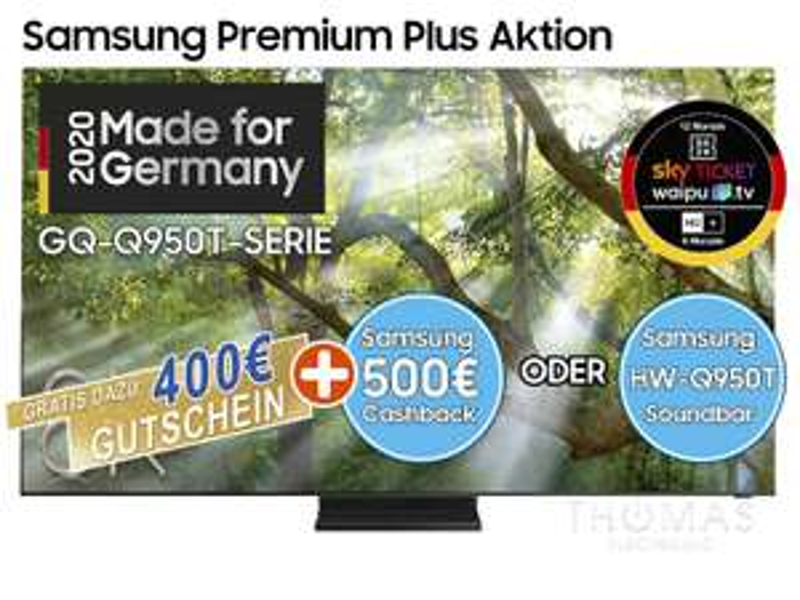 (lokal Bielefeld) Samsung Premiummodell GQ65Q950TSTXZG effektiv für 1999€ (Cashback 500€ oder Soundbar + 400€ Gutschein)