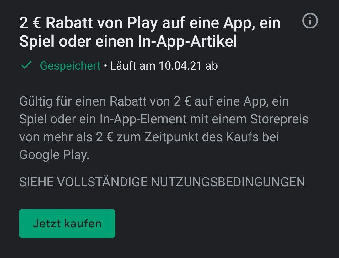 Google Play Store - 2 EUR Guthaben für den Kauf einer App (personalisiert)