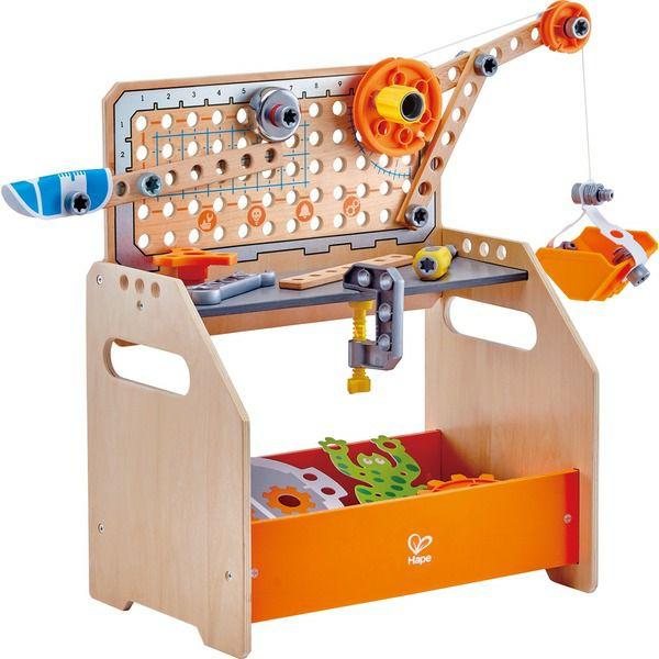 Hape Tüftler-Arbeitstisch, Kinderwerkzeug, Holzspielzeug, Breite: 366 mm x Höhe: 445 mm x Tiefe/Länge: 245 mm, 58 Teile