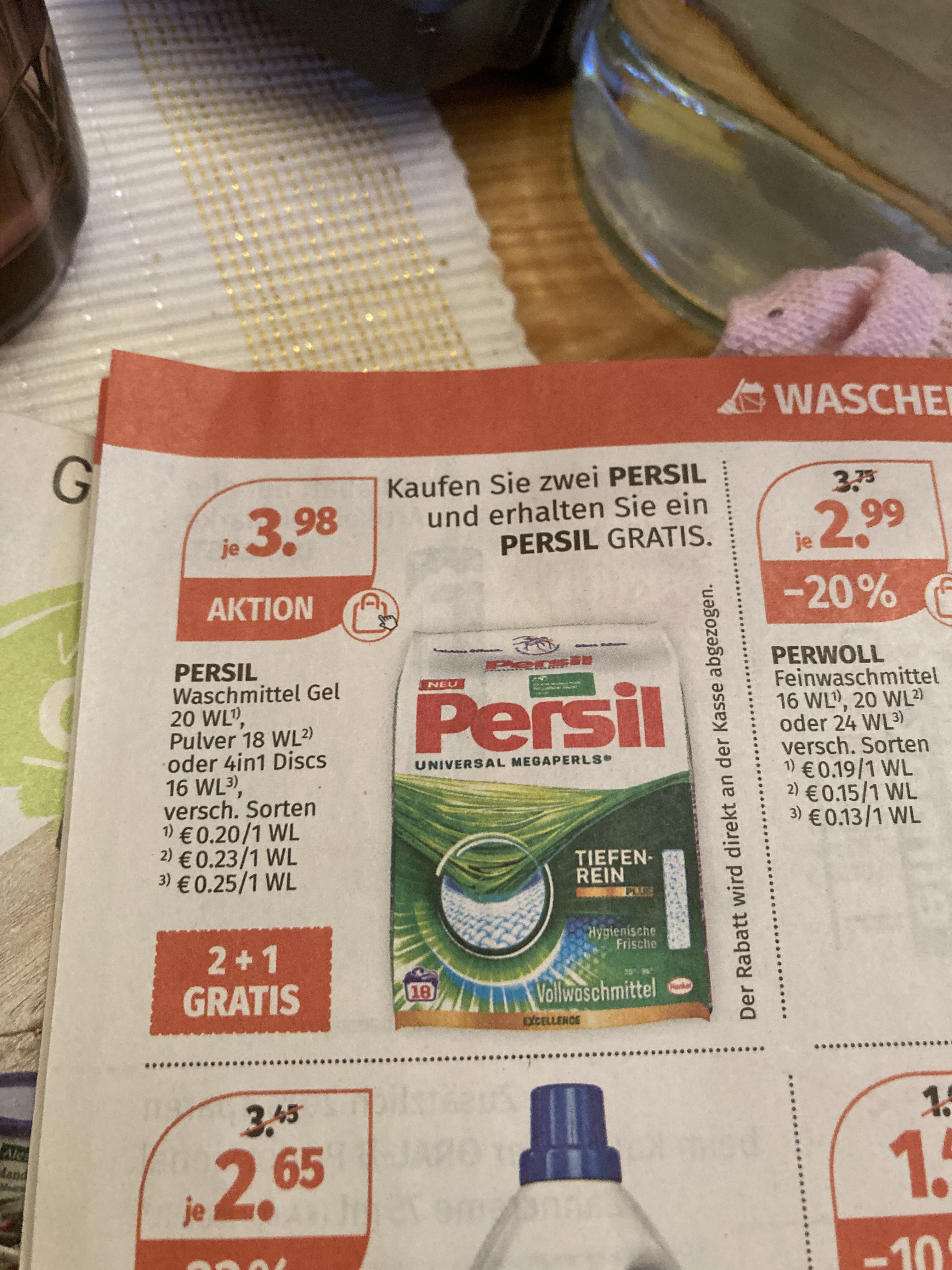 Persil Waschmittel 18WL 2+1 Gratis