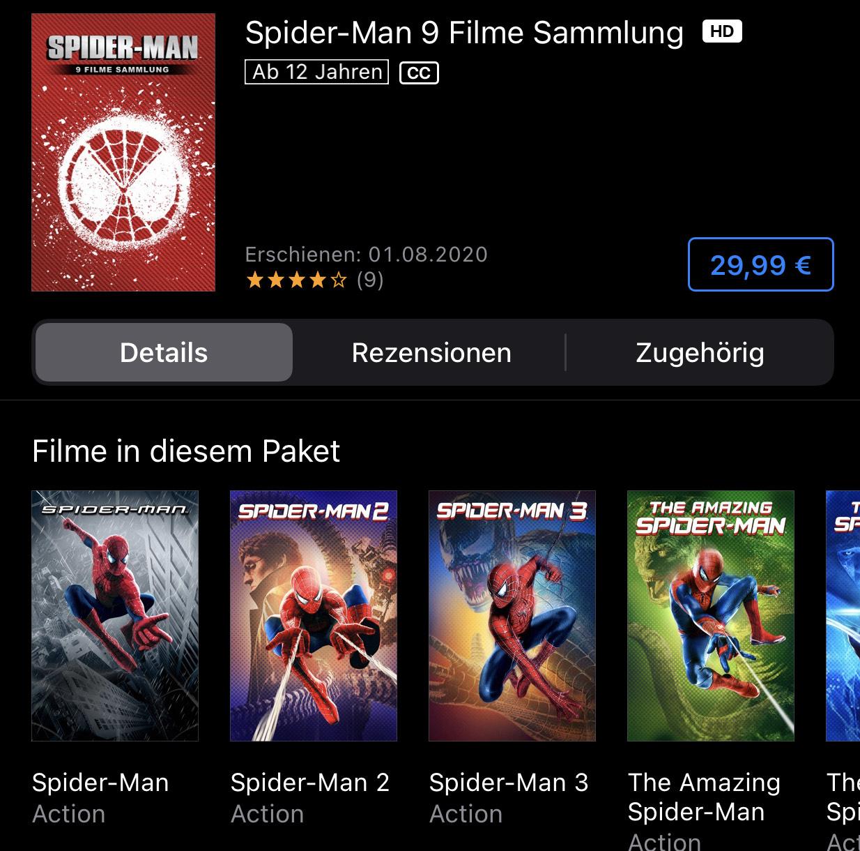 Spider-Man 9 Film Collection bei iTunes