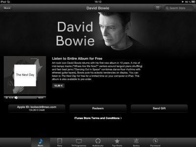 David-Bowie-Album als Gratis-Stream bei iTunes