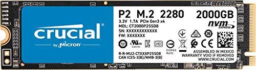 Crucial P2 2TB M.2 NVMe PCIe SSD (bis R2400/W1900, DRAMless, 600TBW, 5 Jahre Garantie)