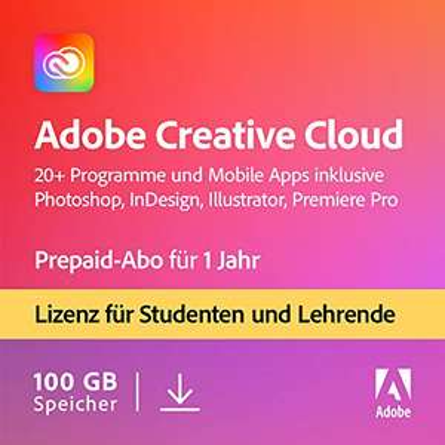 [Amazon & NBB] Adobe Creative Cloud Student & Teacher (Alle Apps, 100 GB Cloudspeicher) - 1 Jahreslizenz