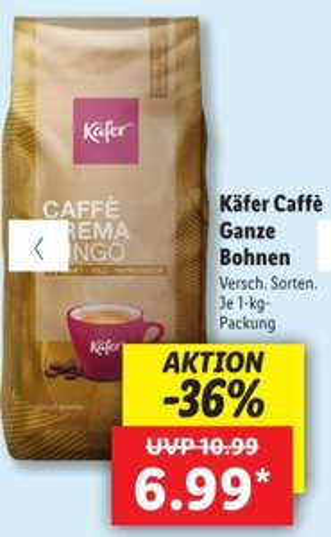 Käfer Caffé Ganze Bohnen verschiedene Sorten je 1 Kg Packung Lidl ab 03.04