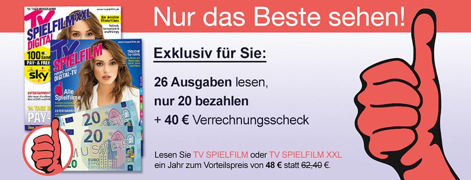 TV Spielfilm (XXL) Jahresabo für 48€ mit 40€ Prämie per Verrechnunsscheck
