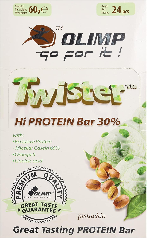 24x 60g Olimp Twister Proteinriegel Pistazie (~0,84€/Riegel, 30g Protein/100g, ohne Kollagenhydrolysat, mit Palmöl)