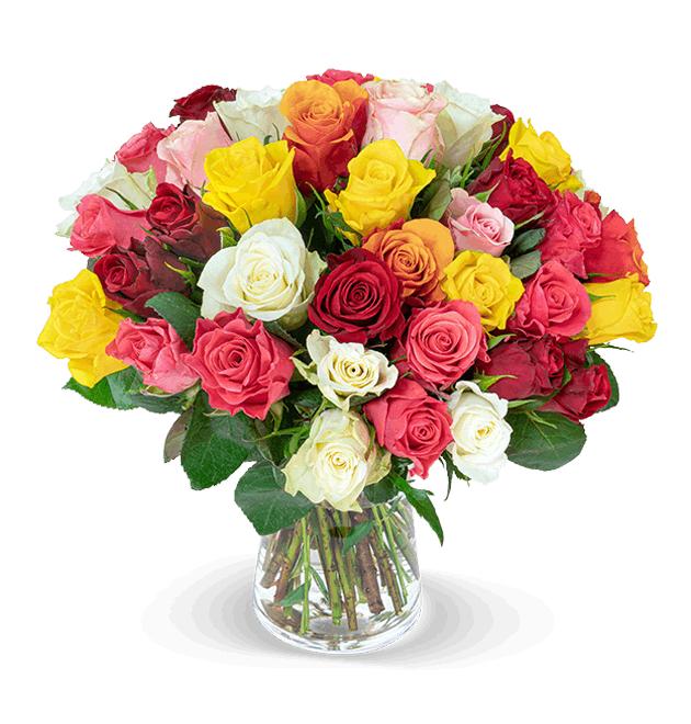 Strauß 'Crazy in Love' aus 35 bunten Rosen à 50cm Länge