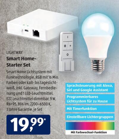 [Aldi-Süd] Lightway Smarthome Starterset (Zigbee Gateway, RGB-E27 Leuchtmittel + Fernbedienung) für 19,99€ ab 06.04.2021