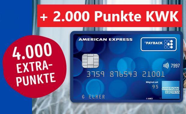 Kostenlose PAYBACK American Express Kreditkarte + 4.000 Punkte (40€) + 2.000 Punkte (20€) KWK