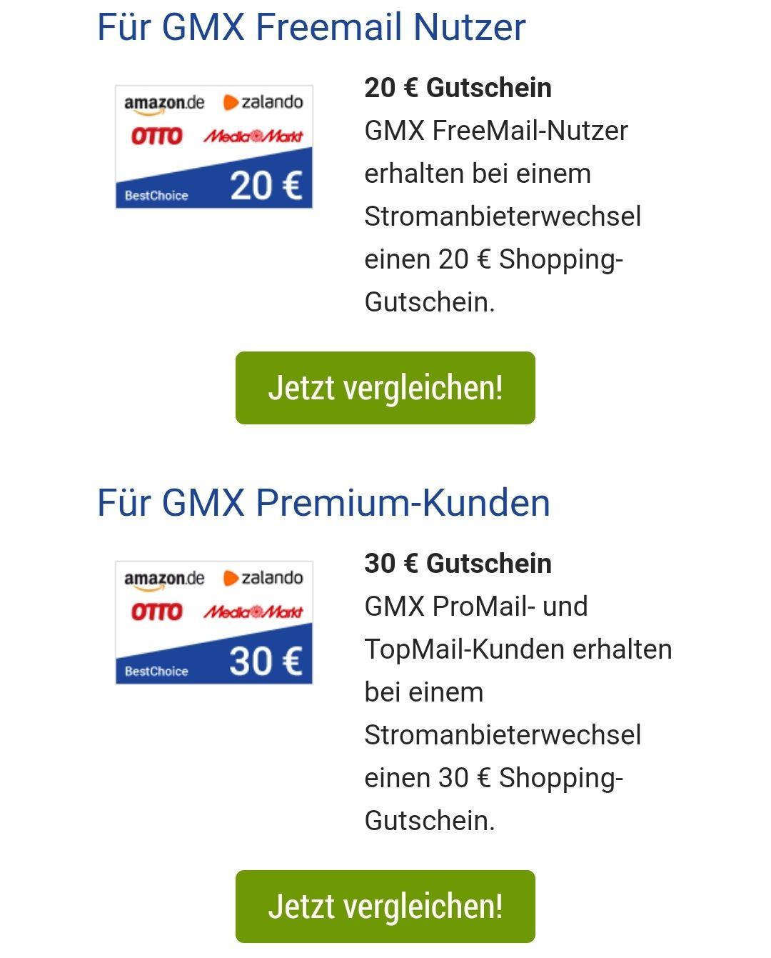 [GMX.de Vorteilswelt] Strom über Verivox z.B. 20 bis 30 Euro Amazon Gutschein