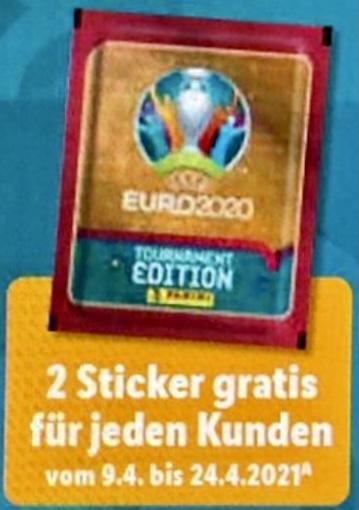 """Lidl: 2 Panini EURO 2020 Tournament Edition Sticker GRATIS """"für jeden Kunden"""" / zusätzlich 10% Rabatt bzw. 4 kaufen + 1 Gratis auf Sticker"""