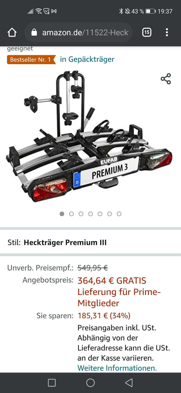 (Prime) Eufab Premium 3 Fahrradträger