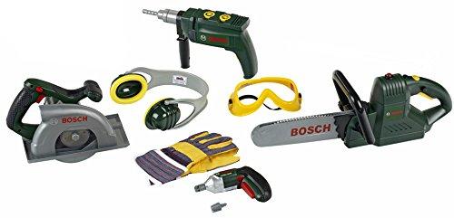 Theo Klein Bosch Sammeldeal, z.B. Großes Bosch Bauarbeiter Set, Bohrmaschine, Kettensäge,Ixolino,Kreissäge,Zubehör