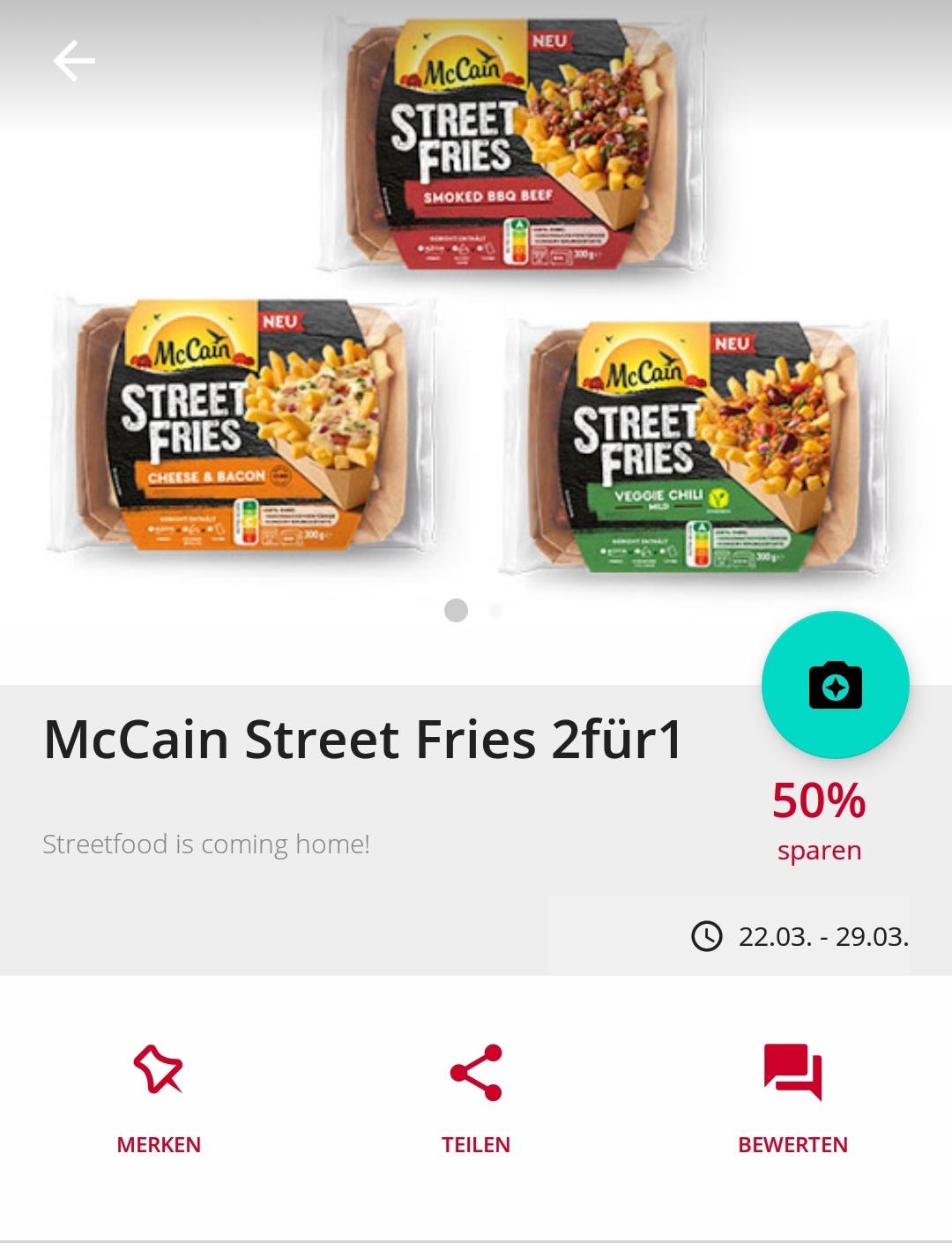 McCain Street Fries 2für1 durch Cashback [Scondoo] [Kochbar]