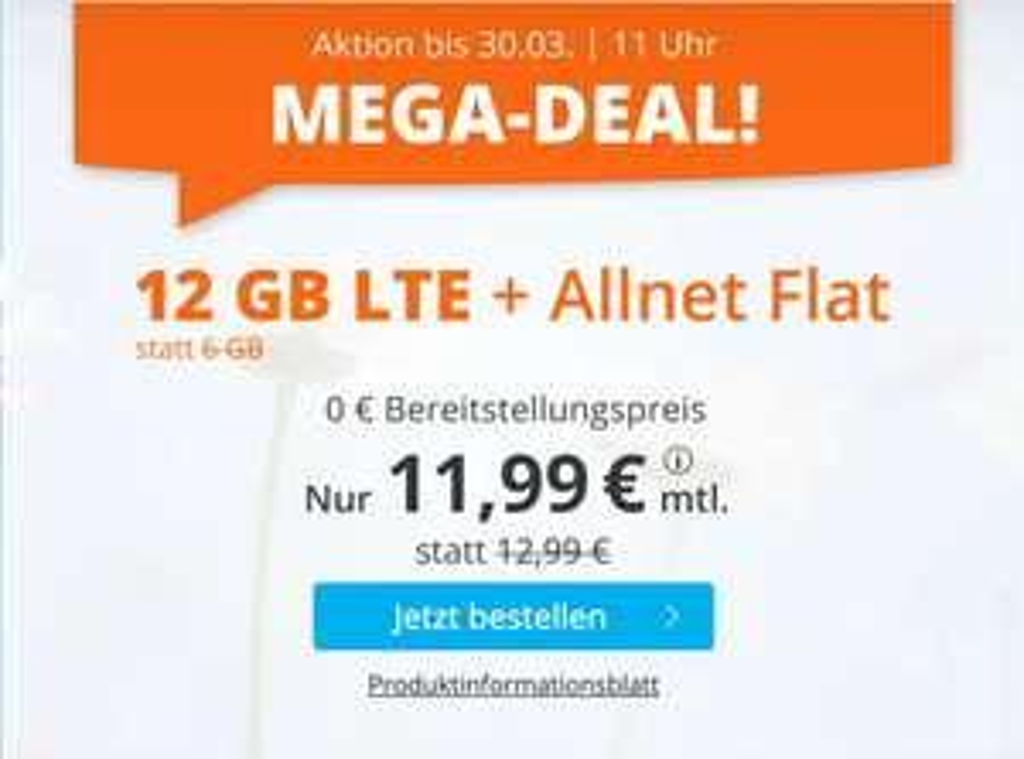 12GB LTE für 11,99€ bei sim.de: SIM-Only Tarif mit Allnet- & SMS-Flat + VoLTE & WLAN Call (3 Monate / 24 Monate; Telefonica-Netz)