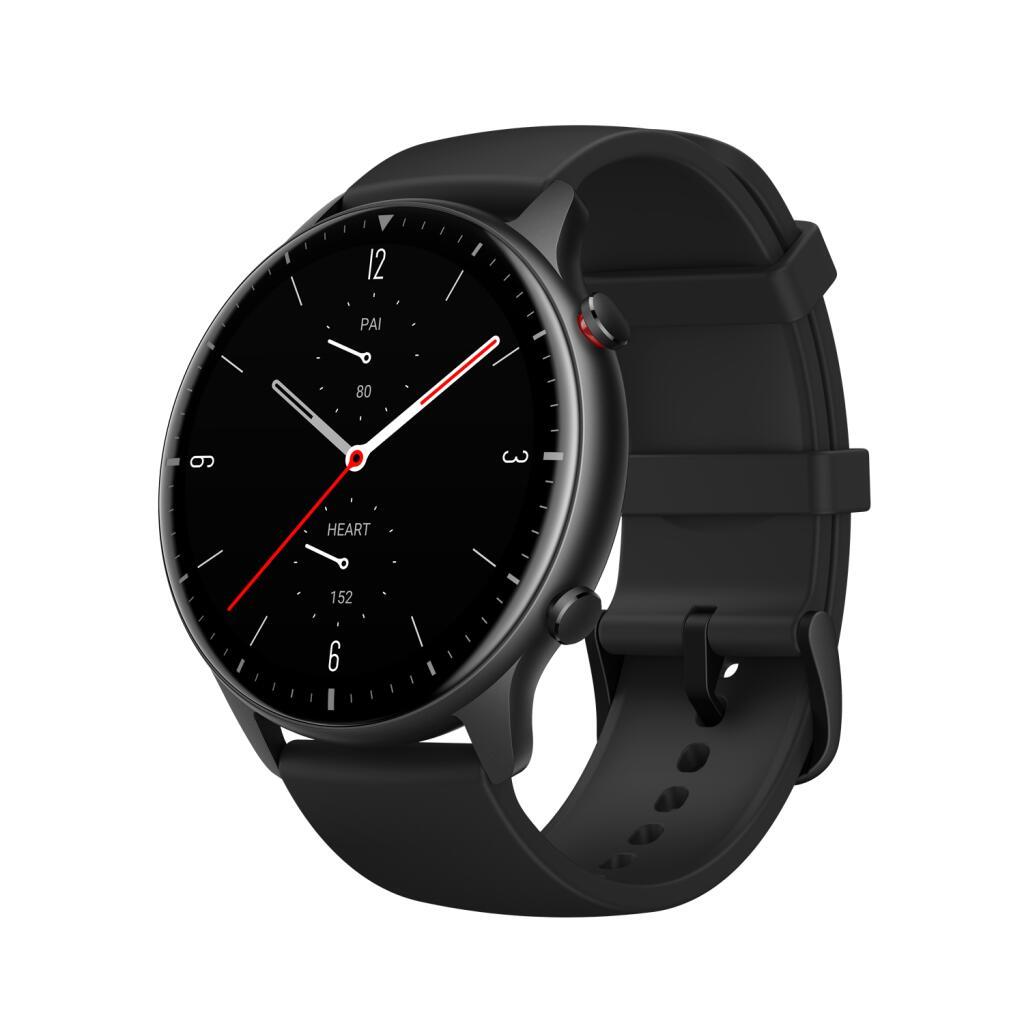 Amazfit GTR 2 Sport 47mm Smartwatch Aluminiumgehäuse, Obsidian Black, mit GPS & Telefonfunktion