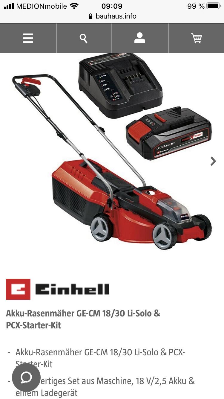 Einhell Rasenmäher GE-CM 18/30 Li-Solo & PCX-Starter-Kit