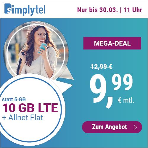 10GB LTE simplytel Tarif für mtl. 9,99€ mit Allnet- & SMS-Flat + VoLTE & WLAN Call (3 Monate / 24 Monate; Telefonica-Netz)