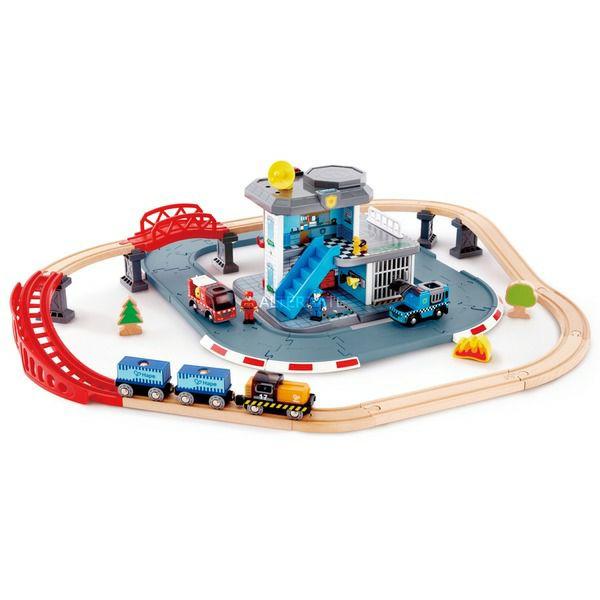 Hape Polizei und Feuerwehr Notfall-Hauptquartier, Holzeisenbahn mit Biokunststoff, 55 Teile, BxHxT/L: 86 x 23x 80 cm