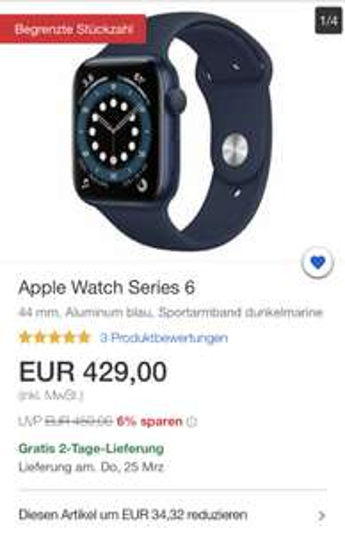 Ebay (Gravis) Apple Watch Series 6 (44mm in blau)