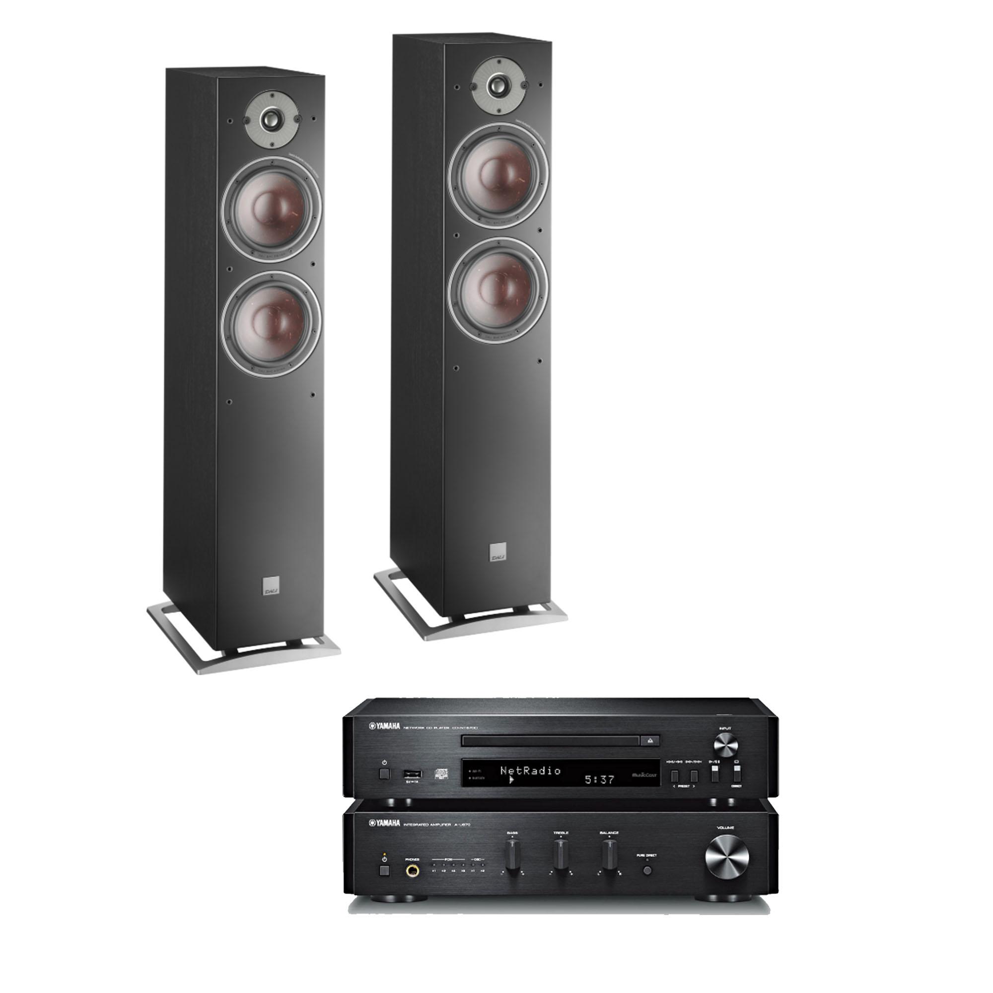 Yamaha MCR-N670 DAB Microanlage + Dali Oberon 7 schwarz ( DAB/UKW, Internetradio, CD-Player, Air-Play )