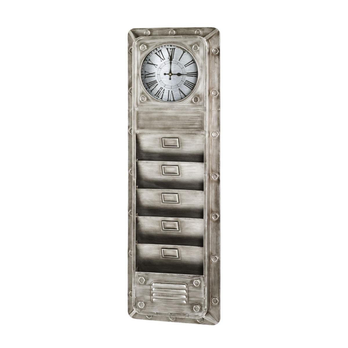 [porta] Memoboard mit integrierter Uhr | Metall silber & Holznachbildung grau
