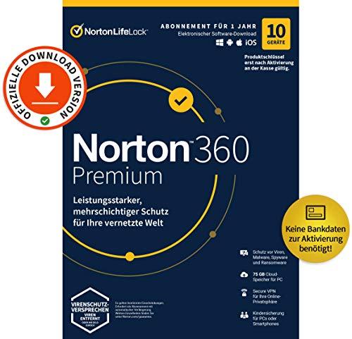 Norton 360 Premium 2021 Virenschutz   10 Geräte   1 Jahr   PC/MAC/Android/iOS