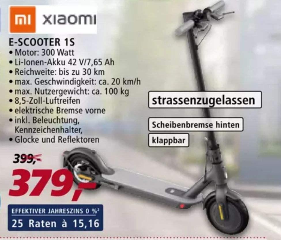 [real Family&Friends] Xiaomi E-Scooter 1S für 265,30€ (statt 368,99€)
