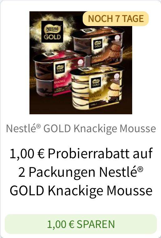 [REWE Netto Kaufland Globus] 2x Nestlé Gold Mousse ab 1,86€ mit Coupies Cashback