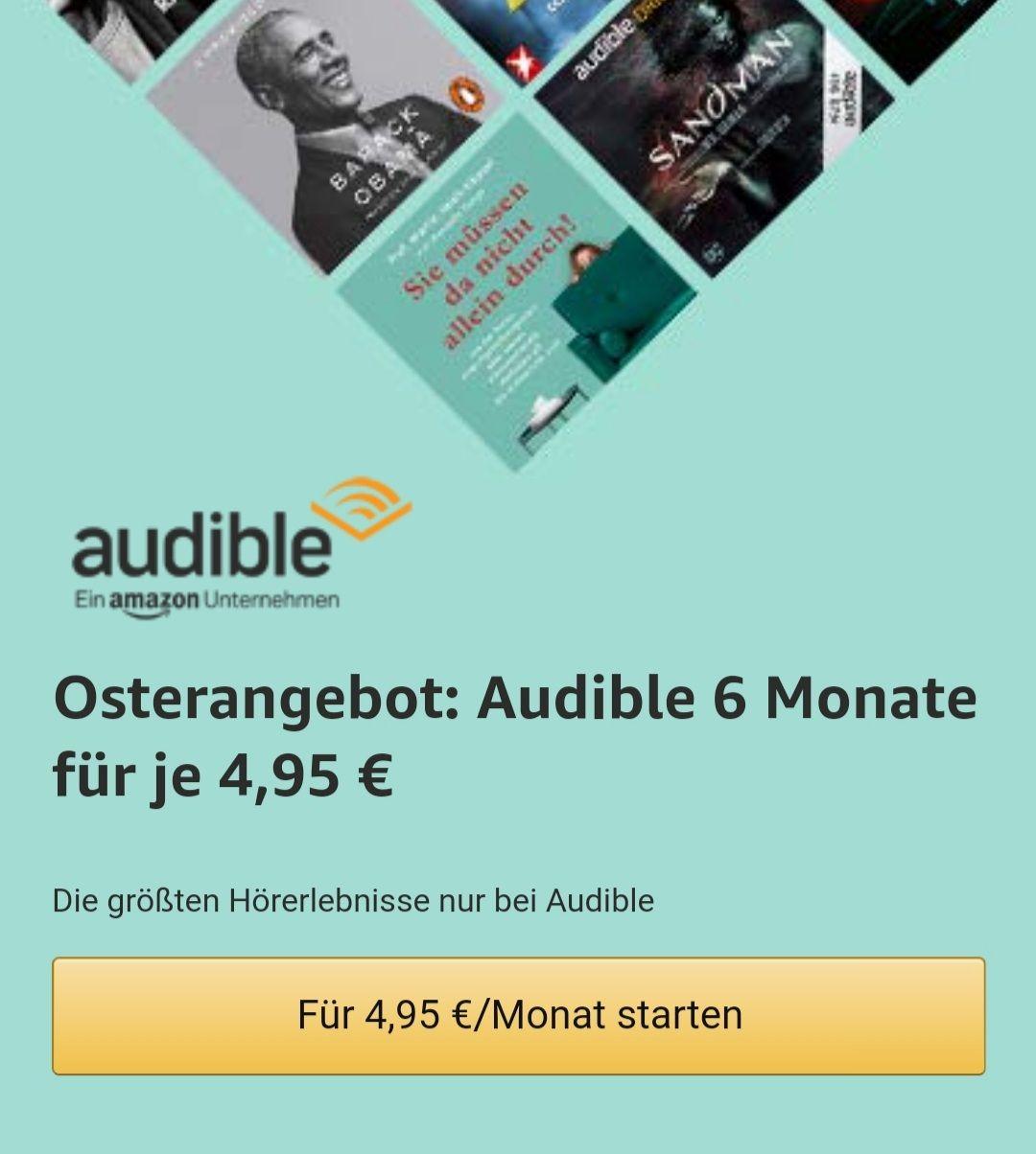 Audible Oster Spezial 6 Monate 4,95€ Pro Monat Neukunden