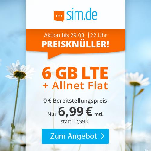 6GB LTE sim.de Tarif für mtl. 6,99€ mit Allnet- & SMS-Flat + VoLTE & WLAN Call (3 Monate / 24 Monate; Telefonica-Netz)