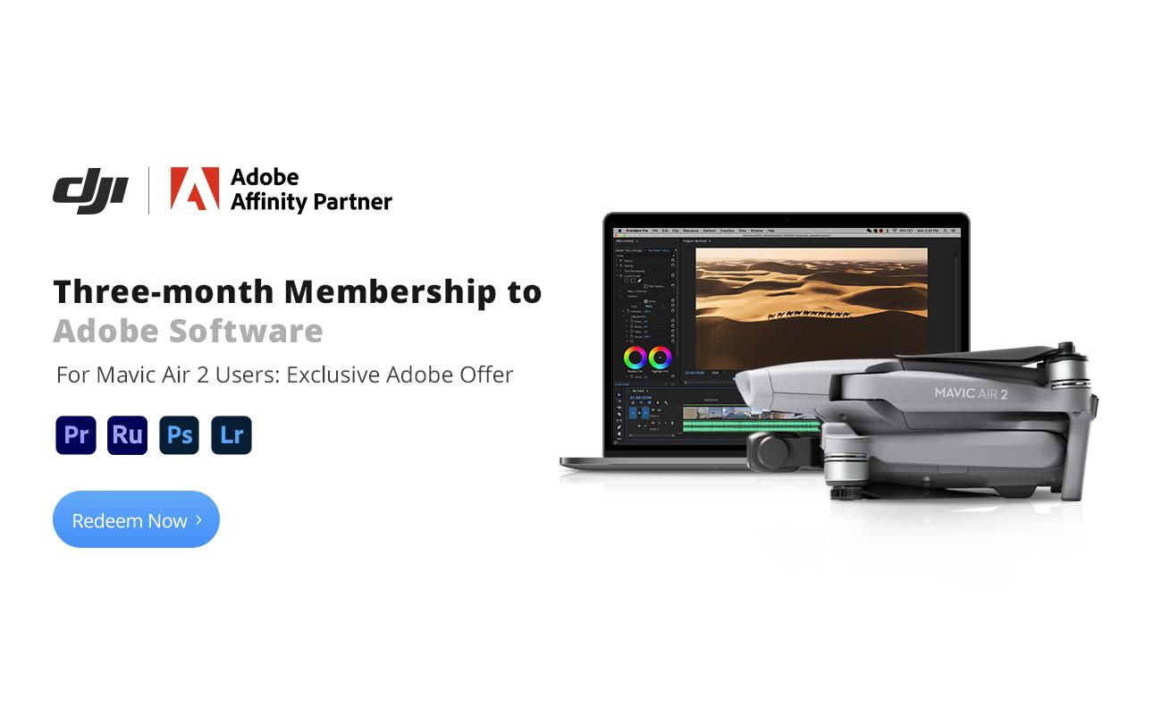 [Nur DJI Mavic Air 2 Käufer] Drei Monate kostenlos Adobe Software nutzen