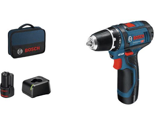Bosch GSR 12V-15 Prof 2x2,0Ah + Charger + Bag Akkuschrauber blau
