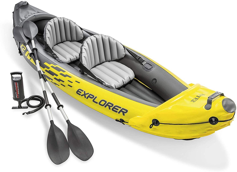 Intex Explorer K2 aufblasbares Kajak (für 2 Personen, inkl. 2 Paddel & Luftpumpe, 312 x 91cm, bis 180 kg)