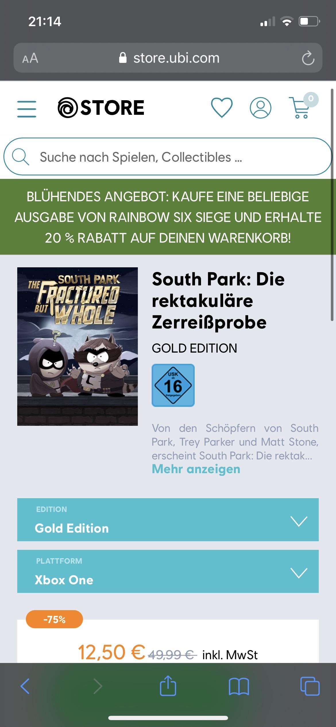 South Park: Die rektakuläre Zerreißprobe Gold Edition (Xbox One Spiele)