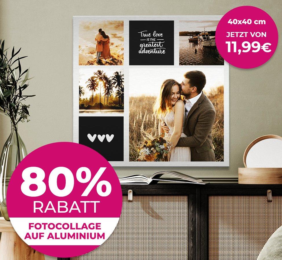 80% Rabatt auf Aluminium Fotocollagen - z.B. 40x40cm für 17,94€ inkl. Versand