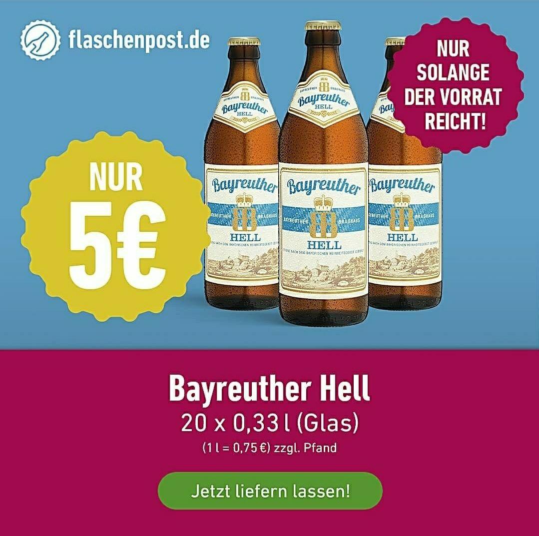 [Lokal: Mainz, Wiesbaden] Bayreuther Kasten 20 x 0,33l für 5 € zzgl. Pfand - MBW: 20 €