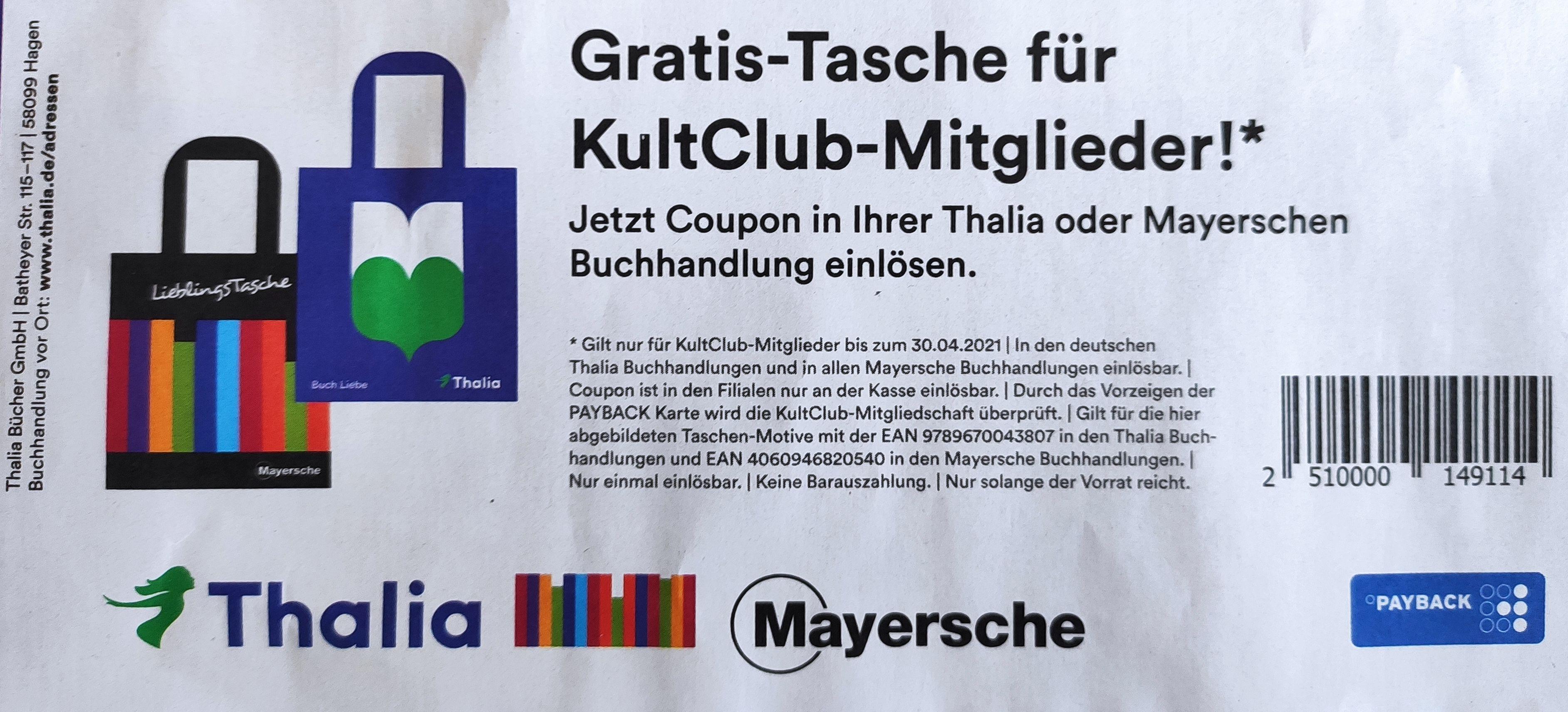 Gratis-Tasche für KultClub-Mitglieder bei Thalia oder Mayersche (Payback-Karte benötigt)